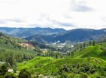 Vista di panorama del paesaggio del campo sulla montagna Fotografia Stock