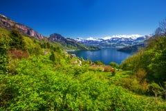 Vista di panorama del villaggio Vitznau, del lago Lucerna & di x28; Vierwaldstattersee& x29; ed alpi svizzere vicino alla città d Immagine Stock Libera da Diritti