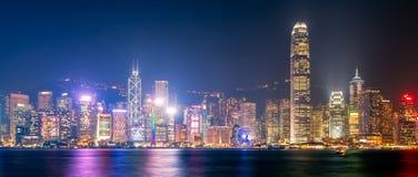 Vista di panorama della vista del centro di Hong Kong da Kowloon immagini stock