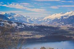Vista di panorama della montagna di Burgfeldstand delle alpi dell'emmental in Svizzera Immagine Stock Libera da Diritti