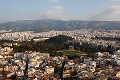 Vista di panorama di Atene dalla collina dell'acropoli Fotografia Stock
