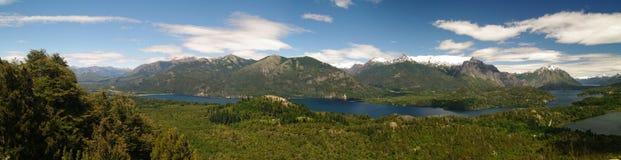 Vista di panorama di Bariloche e del suo lago, Argentina Fotografia Stock