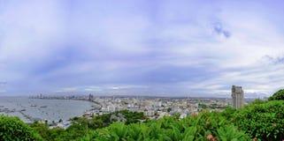 Vista di panorama di Chonburi Tailandia della città di Pattaya alta Fotografia Stock Libera da Diritti