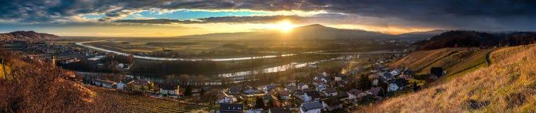 Vista di panorama di Maribor e di dintorni Fotografia Stock