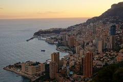 Vista di panorama di Monte Carlo al tramonto Fotografie Stock Libere da Diritti