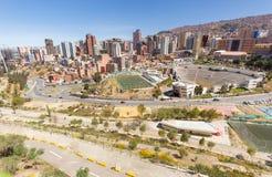 Vista di panorama di paesaggio urbano dello scape della città di La Paz Fotografia Stock