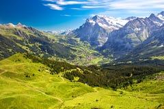 Vista di panorama a Grindelwald da Mannlichen Fotografia Stock