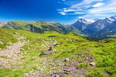 Vista di panorama a Grindelwald da Mannlichen Fotografia Stock Libera da Diritti