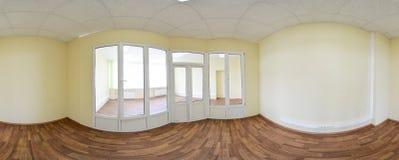 vista di panorama 360 nell'interno vuoto moderno dell'appartamento, panorama senza cuciture di gradi Immagini Stock Libere da Diritti