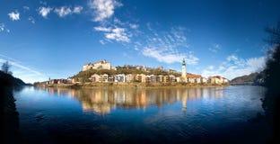 Vista di panorama sopra Burghausen, Baviera, Germania immagine stock libera da diritti