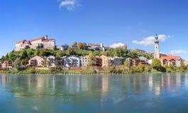Vista di panorama sopra Burghausen, Baviera, Germania Fotografie Stock Libere da Diritti
