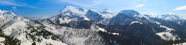 Vista di panorama sulle alpi innevate Fotografia Stock Libera da Diritti