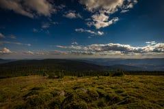Vista di Panoramatic dal picco di Velky Keprnik con i pini, l'erba verde ed il cielo nuvoloso blu scuro in Jeseniky immagini stock