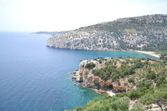 Vista di Panormaic di una spiaggia splendida in Grecia Fotografie Stock Libere da Diritti