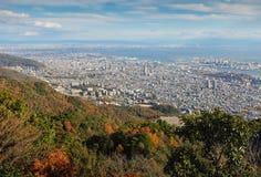 Vista di parecchie città giapponesi nella regione di Kansai Immagine Stock