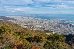 Vista di parecchie città giapponesi nella regione di Kansai dalla maya di Mt MA Fotografia Stock Libera da Diritti
