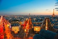 Vista di Parigi con la torre Eiffel. Fotografie Stock
