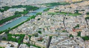 Vista di Parigi e della Senna con altezza della torre Eiffel Fotografia Stock Libera da Diritti
