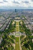 Vista di Parigi, il Champ de Mars dalla torre Eiffel Fotografia Stock Libera da Diritti