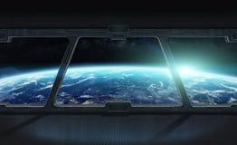 Vista di pianeta Terra dall'interno di una stazione spaziale 3D che rende EL Immagine Stock