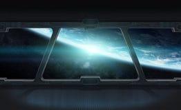 Vista di pianeta Terra dall'interno di una stazione spaziale 3D che rende EL Fotografia Stock