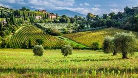 Vista di piccolo villaggio in Toscana Immagini Stock