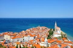 Vista di Piran in Istria, Slovenia Immagine Stock