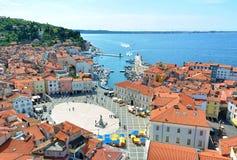Vista di Piran, Slovenia fotografia stock