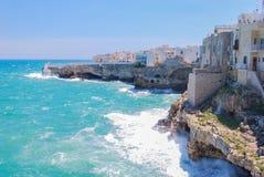 Vista di Polignano una giumenta con la schiuma del mare e ruvida fotografia stock libera da diritti