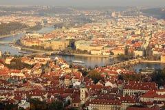 Vista di Praga nella sera Fotografie Stock