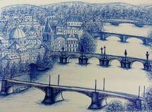Vista di Praga romantica, Praga Immagine Stock