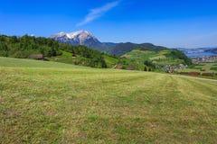 Vista di primavera dal Mt Stanserhorn in Svizzera Fotografia Stock Libera da Diritti