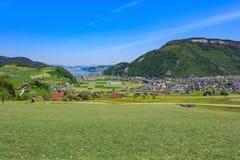 Vista di primavera dal Mt Stanserhorn in Svizzera Fotografia Stock