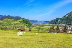 Vista di primavera nel Canton Nidvaldo con il lago Lucerna nei precedenti Fotografie Stock Libere da Diritti