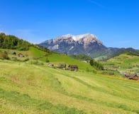 Vista di primavera nel Canton Nidvaldo con il Mt Pilatus nei precedenti Fotografie Stock