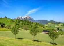 Vista di primavera nel Canton Nidvaldo con il Mt Pilatus nei precedenti Fotografia Stock Libera da Diritti