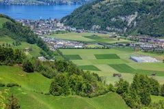 Vista di primavera nel Canton Nidvaldo, Svizzera Fotografia Stock