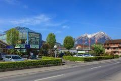 Vista di primavera nella città di Stans, Svizzera Fotografia Stock Libera da Diritti
