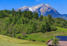 Vista di primavera nelle alpi svizzere Immagine Stock