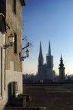 Vista di primo mattino della cattedrale di Zagabria Fotografia Stock