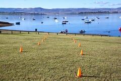 Vista di primo mattino della sede di triathlon della diga di Midmar Fotografia Stock Libera da Diritti