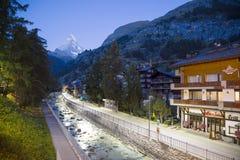 Vista di primo mattino di Zermatt in Svizzera Immagini Stock Libere da Diritti