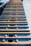 Vista di prospettiva del trattore a cingoli del trattore del carro armato Fotografia Stock Libera da Diritti