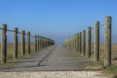 Vista di prospettiva del viale pedonale di legno, verso l'oceano, accanto alla spiaggia fotografie stock libere da diritti