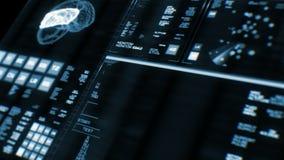 Vista di prospettiva dell'interfaccia futuristica blu profonda/Digital screen/HUD illustrazione di stock