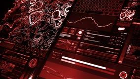 Vista di prospettiva dell'interfaccia futuristica rossa/Digital screen/HUD illustrazione di stock