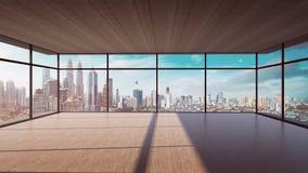 Vista di prospettiva dell'interno di legno vuoto del soffitto del cemento e del pavimento con la vista dell'orizzonte della città immagine stock