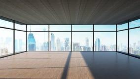 Vista di prospettiva dell'interno di legno vuoto del soffitto del cemento e del pavimento con la vista dell'orizzonte della città illustrazione di stock