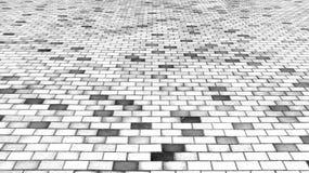 Vista di prospettiva della strada in bianco e nero monotona della via della pietra del mattone Marciapiede, struttura della pavim Fotografia Stock