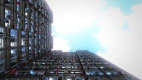 Vista di prospettiva difficile dei condomini del cielo 3d rappresentazione, 4k Royalty Illustrazione gratis
